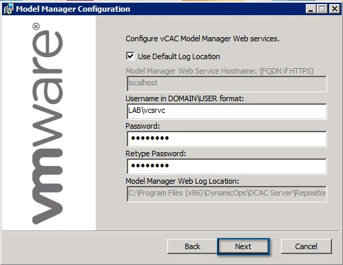 Configure the vCAC Model Manager
