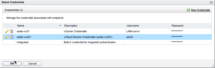 Choose vCloud Director Credentials
