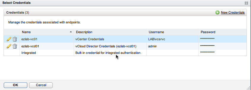 Choose vCenter Credentials