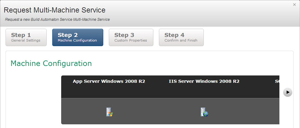 VMware vCAC Self-Service Multi-Machine Request Screen After