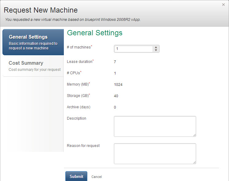 VMware vCAC Self-Service Request Screen Before